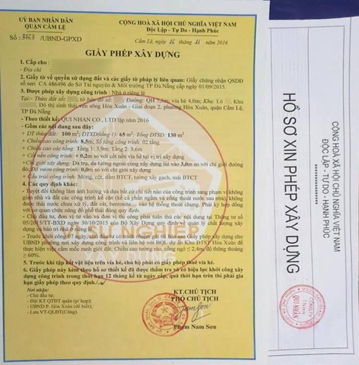 Giấy xin phép xây dựng tại Đà Nẵng của MM2