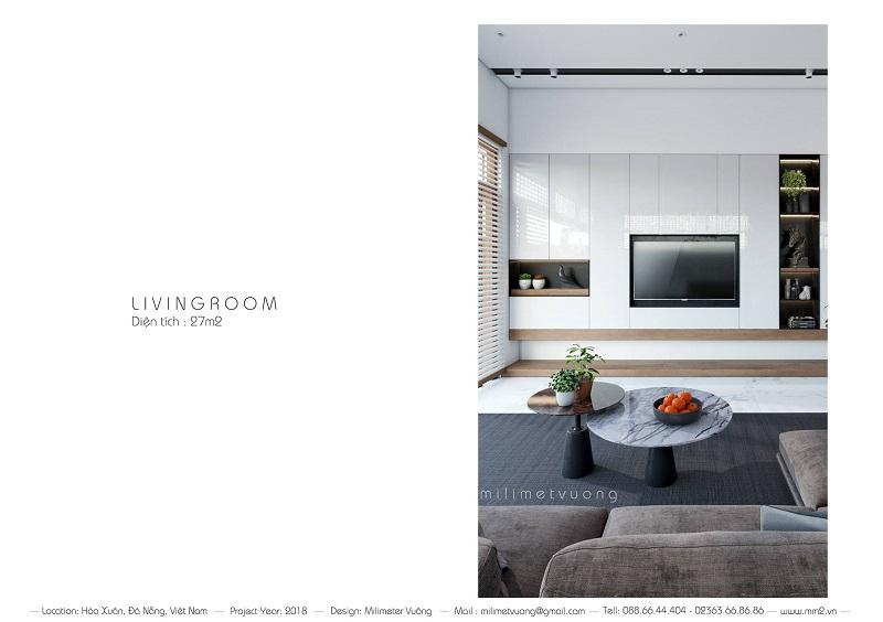 Diện tích của phòng khách căn nhà 1 tầng là 27 m2